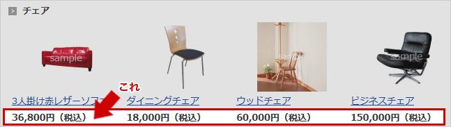 商品グループの価格